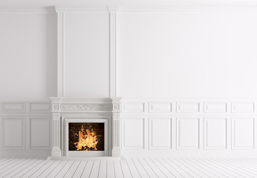 Empty classic white interior of a room with fireplace 3d renderi