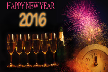Happy New Year 2016. Decoration on black background.