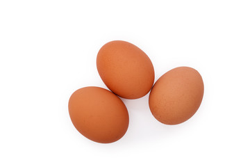 eggs on white background top view