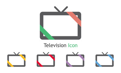 Television Icon Vector With Five Colors Options