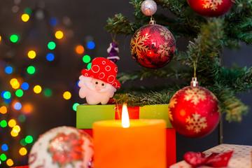 Christmas composition with Christmas balls and Christmas decorat