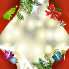 Christmas background with balls and pine tree