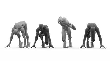 Three dimensional white human run. Ready to run on start.