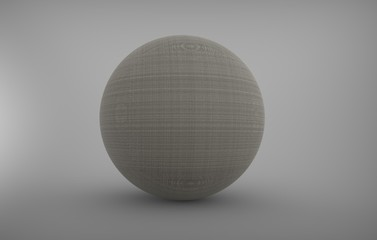 Three dimensional sphere with material on background with shadows.