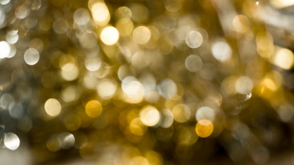 Abstract yellow bokeh circles for Christmas background