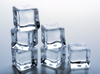 Clear ice cubes putted as stairs, close up