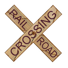 Rail Crossing Wooden Sign