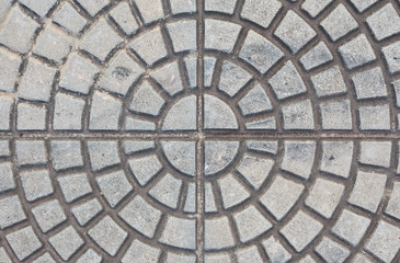 stone block floor of pavement on city street