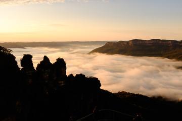 Silhouette three sister rock, Blue mountain national park, Australia.