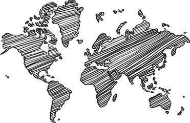 Foto op Plexiglas Wereldkaart Freehand world map sketch on white background.