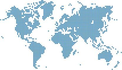 Spoed Foto op Canvas Wereldkaart Blue dots world map on white background, vector illustration.