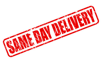 SAME DAY DELIVERY red stamp text