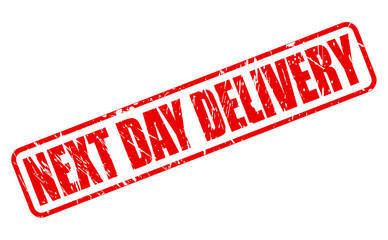 NEXT DAY DELIVERY red stamp text