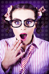 Attractive Young Nerd Girl With Surprised Look