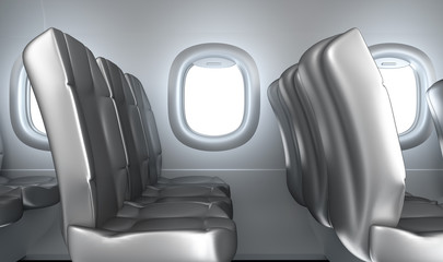 Airplane interior, seats, window