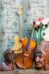 violin still life with Wood carving