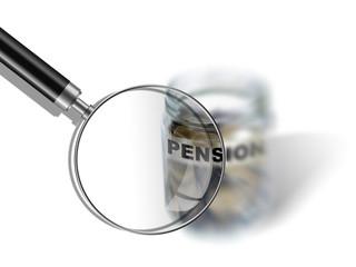 pension  savings money in jar