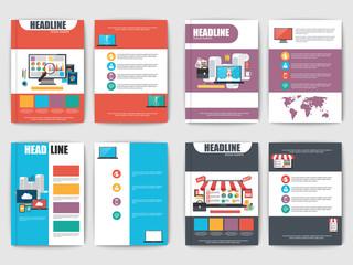 Set of multipurpose presentation flat brochures