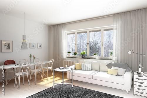 Einfache Wohnzimmereinrichtung Zeichnung Stock Photo And Royalty