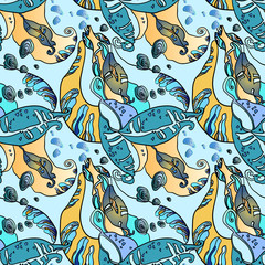 Beans Leaves And Fruit. Autumn Abstract Seamless Floral Pattern.