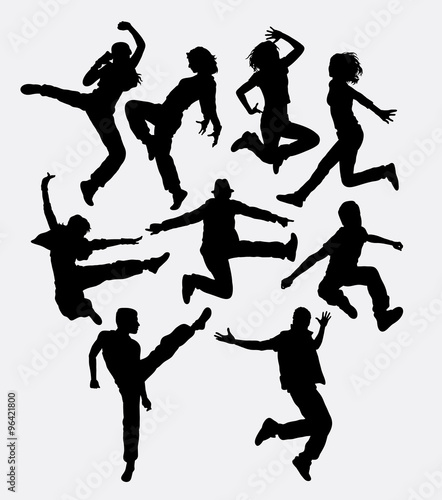 Modern Dance Man And Women Jumping Action Silhouette Good Use For