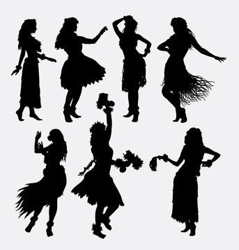 Hawaiian hula girl. Posing, dancing, sensual and sexy woman silhouette. Good use for symbol, logo, web icon, mascot, game elements, or any design you want. Easy to use, edit, or change color.