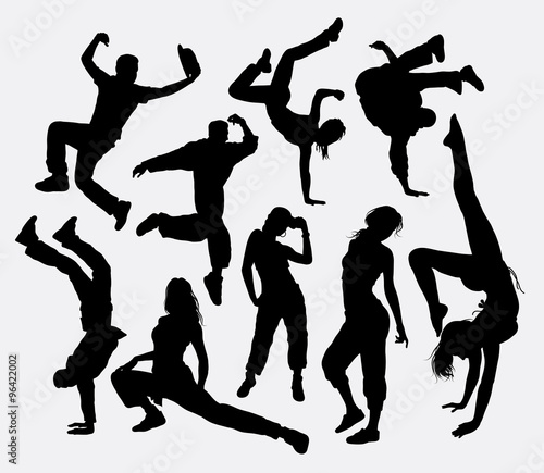 Freestyle Dance Male And Female Action Silhouette Good Use For Symbol Logo Web Icon Mascot
