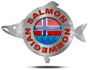 Norwegian Salmon - Metal Icon / Metallic icon or symbol in the shape of a salmon fish with text Norwegian salmon, blue waves and Norwegian flag. Isolated on a white background
