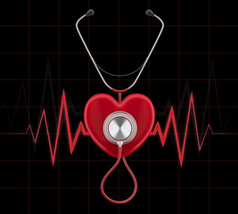 Stethoscope on a red heart render