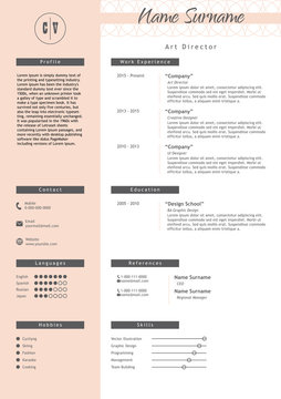 Vector creative resume template. Minimalist style. CV infographic elements