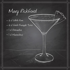 Cocktail Mary Pickford on black board