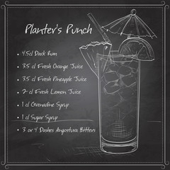 Planter Punch cocktail on black board
