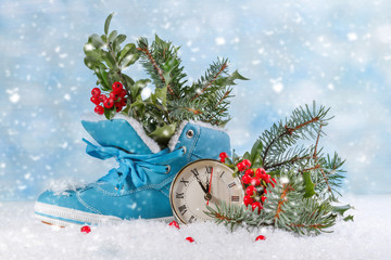 Christmas clock with boots and Holly leaves