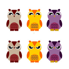 colored cute owls set of flat icon