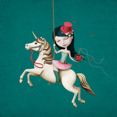 Circus girl on  horse with  cage and heart