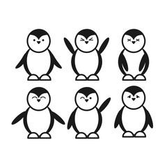 black cute funny penguin set flat icon