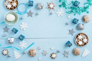 Blue Christmas decoration on wood