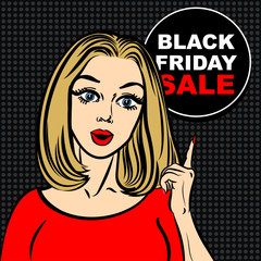 Black friday sale bubble and pop art woman to point the finger.