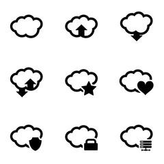 Vector black cloud icon set. Cloud Icon Object, Cloud Icon Picture, Cloud Icon Image - stock vector