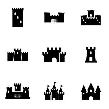 Vector black castle icon set. Castle Icon Object, Castle Icon Picture, Castle Icon Image - stock vector