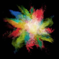 Freeze motion of colored dust explosions on black background