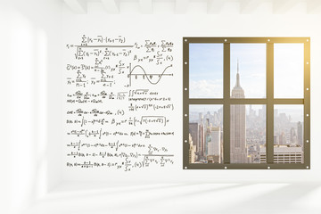 White wall with equations in empty loft room with megapolis city