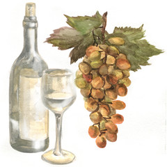 Grapes, wine bottle, white wine in a glass wine glass. Watercolor painting
