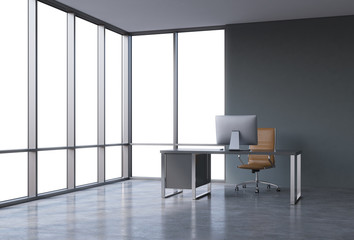 A workplace in a modern corner panoramic office with copy space in the windows. A black desk with a modern computer and brown leather chair. A concept of consulting services. 3D rendering.