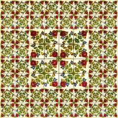 Fotomurales - Floral background. Ceramic tile, Lisbon, Portugal