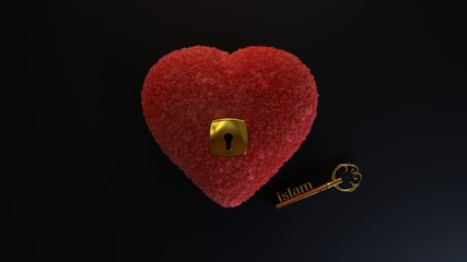 The point is that the key to the human heart - Islam. fleecy, soft heart with a lock key to which Islam is depicted on a black background.