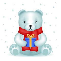 Bear cub sit with new year gift winter background snowflakes vector illustration