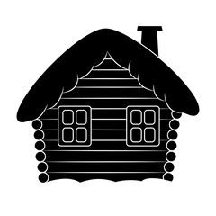 House with snow cartoon silhouette illustration. Winter snowy Christmas home, cottage isolated on white background.
