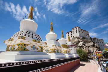Buddhist white stupa and blue sky . Thiksey Monastery,  Leh , Ladakh, India