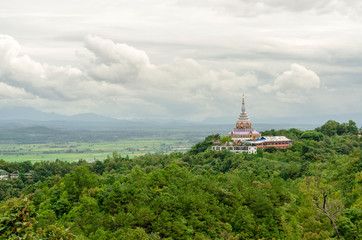 Tha Ton Temple set amid green mountains,Place for religious practices of Thailand